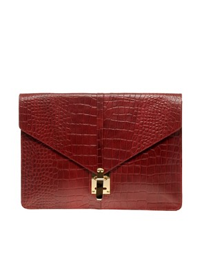 Image 1 ofASOS Croc Embossed Leather Portfolio Clutch