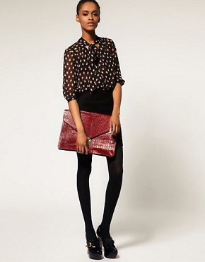 Image 3 ofASOS Croc Embossed Leather Portfolio Clutch