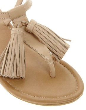Image 4 ofASOS FOCUS Leather Flat Sandals with Tassle