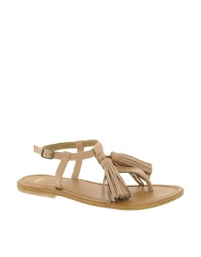 Image 1 ofASOS FOCUS Leather Flat Sandals with Tassle