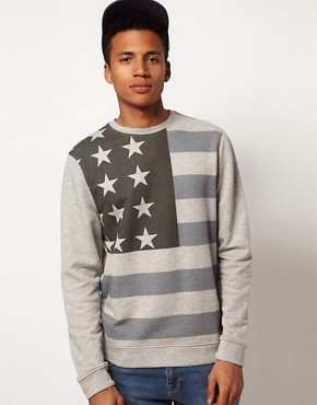 Image 1 ofASOS Sweatshirt With Oversized Flag Print