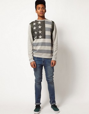 Image 4 ofASOS Sweatshirt With Oversized Flag Print