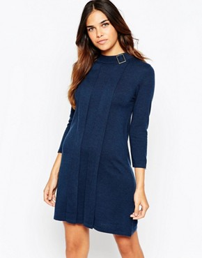 ASOS Swing Dress in Knit with Buckle Neck Detail