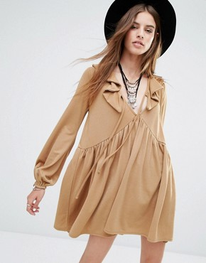 Rokoko Tie Front Smock Dress With Frill Detail