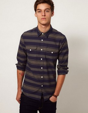 Image 1 ofASOS Stripe Shirt In Heavy Twill