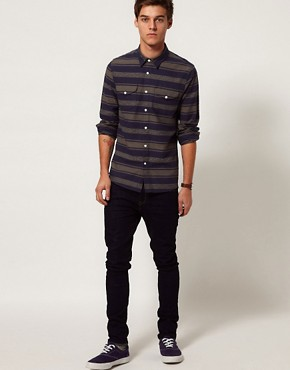 Image 4 ofASOS Stripe Shirt In Heavy Twill
