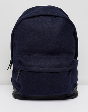 ASOS Backpack In Navy Melton With Faux Leather Base