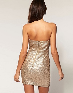 Image 2 ofTFNC Bandeau Sweetheart Sequin Dress