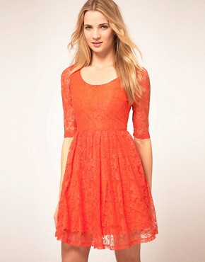 Image 1 ofKookai Lace Dress With Scoop Neck