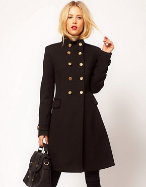 Image 1 ofMango Funnel Neck Military Coat