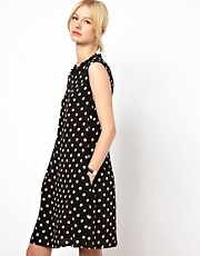 Boutique by Jaeger Polka Dot Dress with Frill Neck