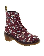 Dr Martens - Lynn - Anfibi di tela sottile rosso ciliegia con tulipani