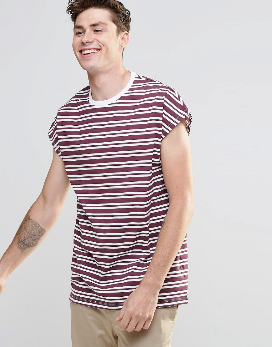 ASOS Oversized Sleeveless T-Shirt In Burgundy Stripe - Red