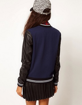 Image 2 ofASOS Bomber with Stripe Rib PU Sleeve