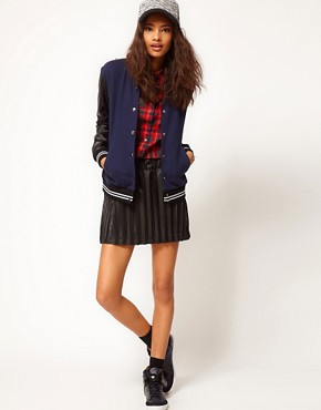 Image 4 ofASOS Bomber with Stripe Rib PU Sleeve