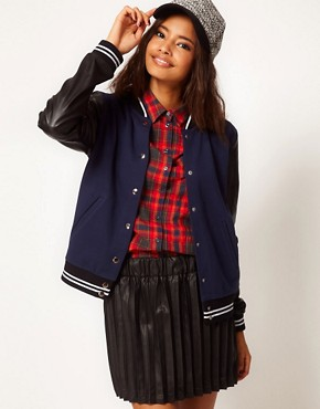 Image 1 ofASOS Bomber with Stripe Rib PU Sleeve