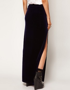 Image 2 ofASOS Maxi Skirt in Velvet