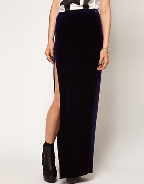 Image 4 ofASOS Maxi Skirt in Velvet