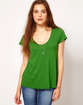 Image 1 ofAmerican Vintage Slubby Cotton V Neck Tshirt With Short Sleeves