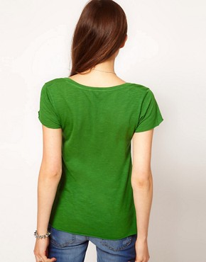 Image 2 ofAmerican Vintage Slubby Cotton V Neck Tshirt With Short Sleeves