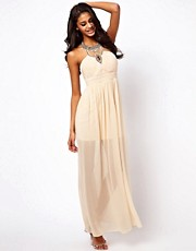 Little Mistress Maxi Dress with Embellished Necklace