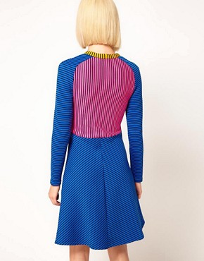 Image 2 ofHouse of Holland Raglan Dress in Striped Double Jersey