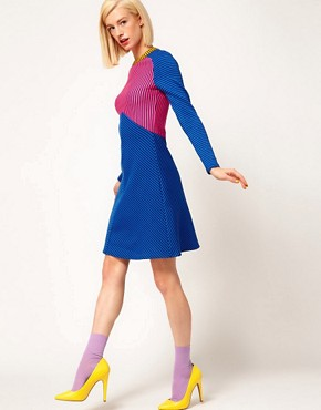 Image 4 ofHouse of Holland Raglan Dress in Striped Double Jersey