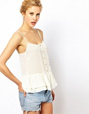 ASOS Cami With Crochet Front And Ruffle Hem