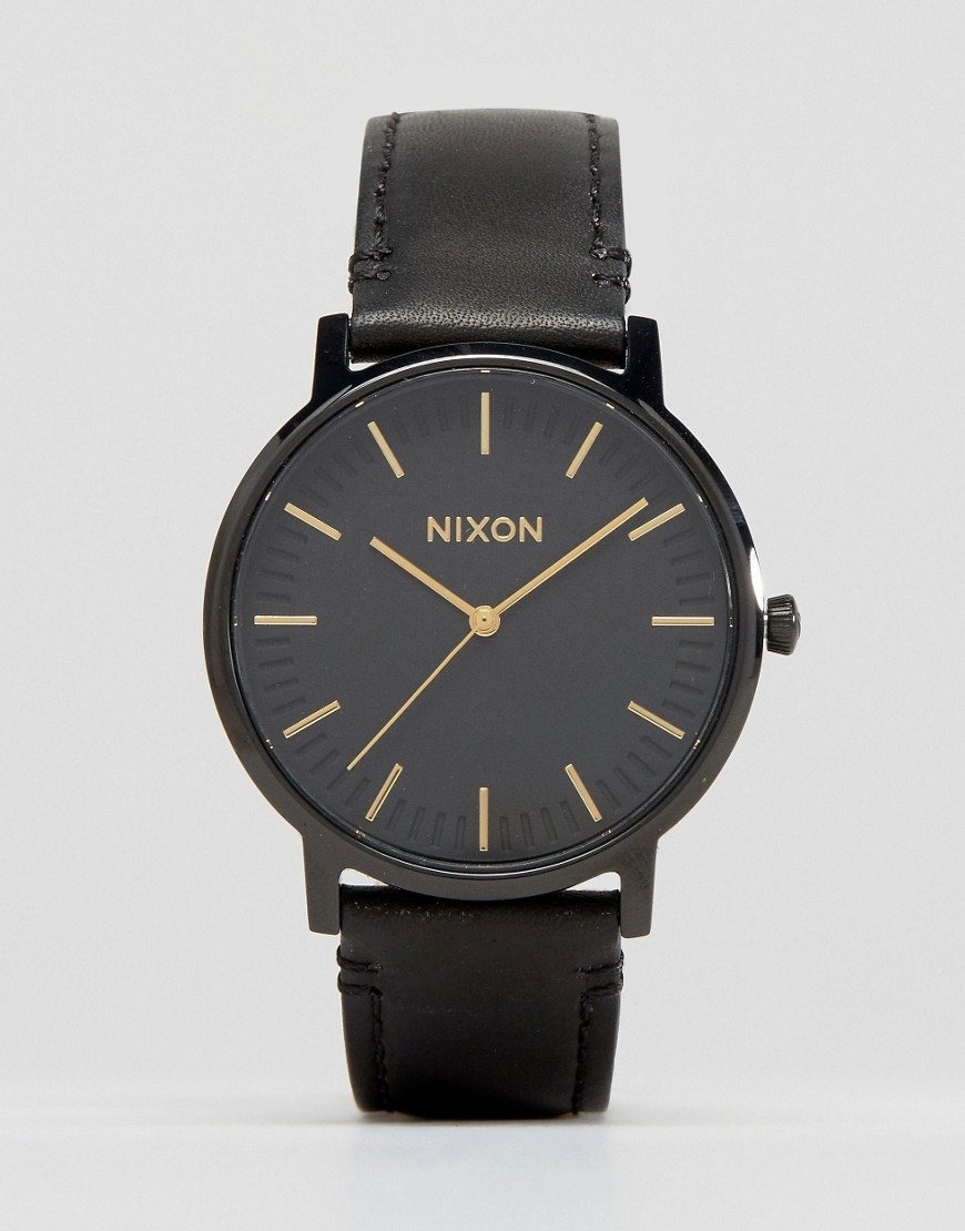 Nixon Porter Leather Watch In Black