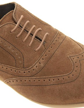 Image 2 ofBase London Refresh Suede Brogue Shoes