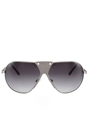 Image 2 ofASOS Premium Mixed Metal Aviator Sunglasses