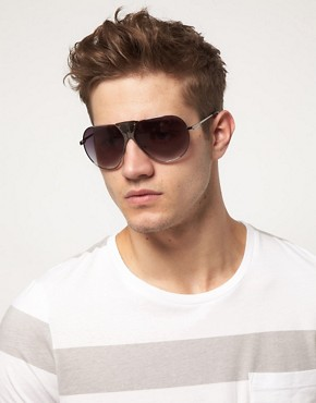 Image 3 ofASOS Premium Mixed Metal Aviator Sunglasses