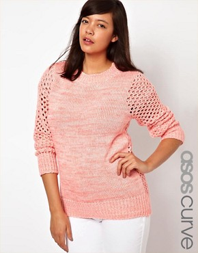 Image 1 ofASOS CURVE Exclusive Jumper In Open Stitch