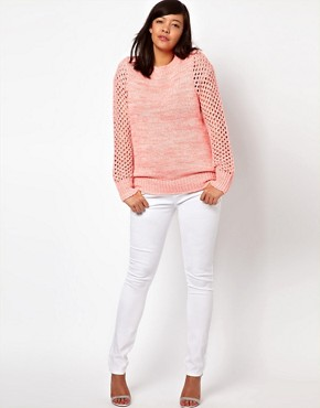 Image 4 ofASOS CURVE Exclusive Jumper In Open Stitch