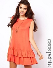 ASOS PETITE Exclusive Mini Dress With Ruffle Hem