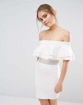 Endless Rose Knitted Ruffle Mesh Panel Mini Dress