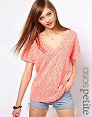 ASOS PETITE Bright T-Shirt in Texture with V Neck