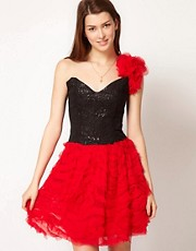 Liquorish Corset Dress With Silk Ruffle Skirt