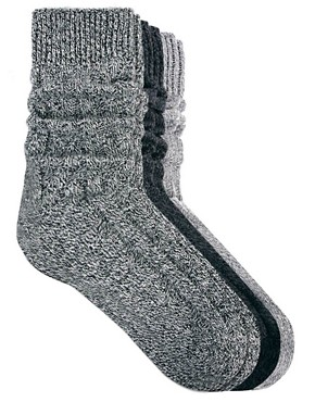 Image 1 ofASOS 3 Pack Cable Knit Boot Socks