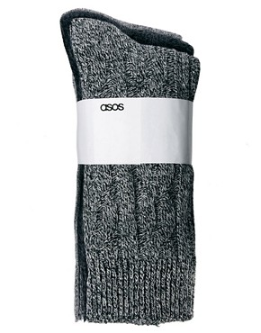Image 3 ofASOS 3 Pack Cable Knit Boot Socks