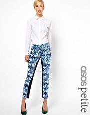 ASOS PETITE Exclusive Printed Trousers With Contrast Panels