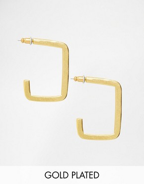 The 2 Bandits Gold Plated Square Hoop Earrings
