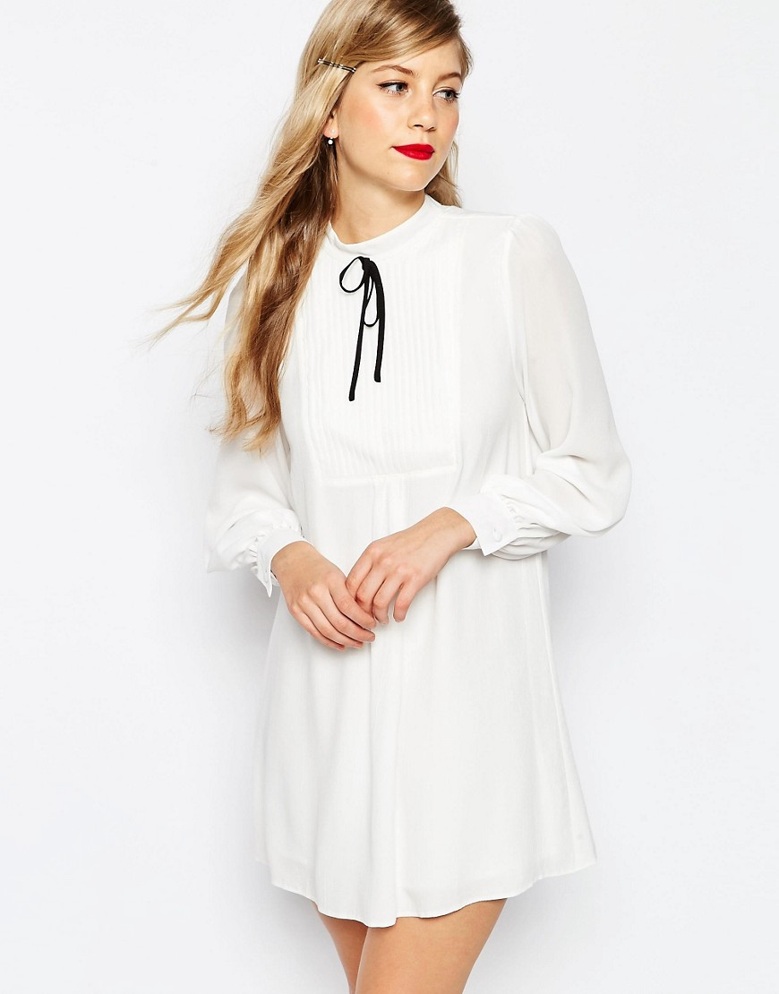 ASOS Smock Dress with Pleat Detail and Contrast Tie - Multi