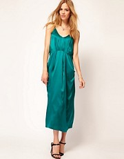 Selected Silk Midi Dress with Pocket Detail