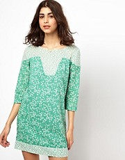 BA&amp;SH Panelled 60s Mini Dress in Printed Cotton