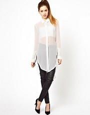 Unconditional Long Silk Blouse with Open Sides and Back Strap