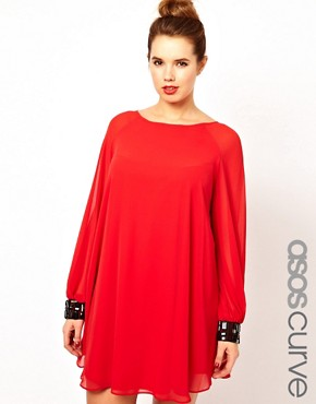 Image 1 ofASOS CURVE Shift Dress with Jewelled Cuff