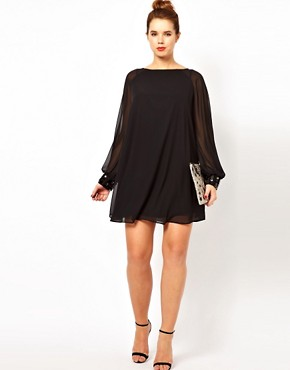 Image 4 ofASOS CURVE Shift Dress with Jewelled Cuff