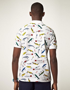 Image 2 of Lacoste Live! Slim Fit Fishing Hooks Polo