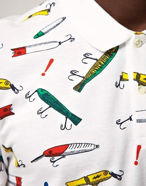 Image 3 of Lacoste Live! Slim Fit Fishing Hooks Polo